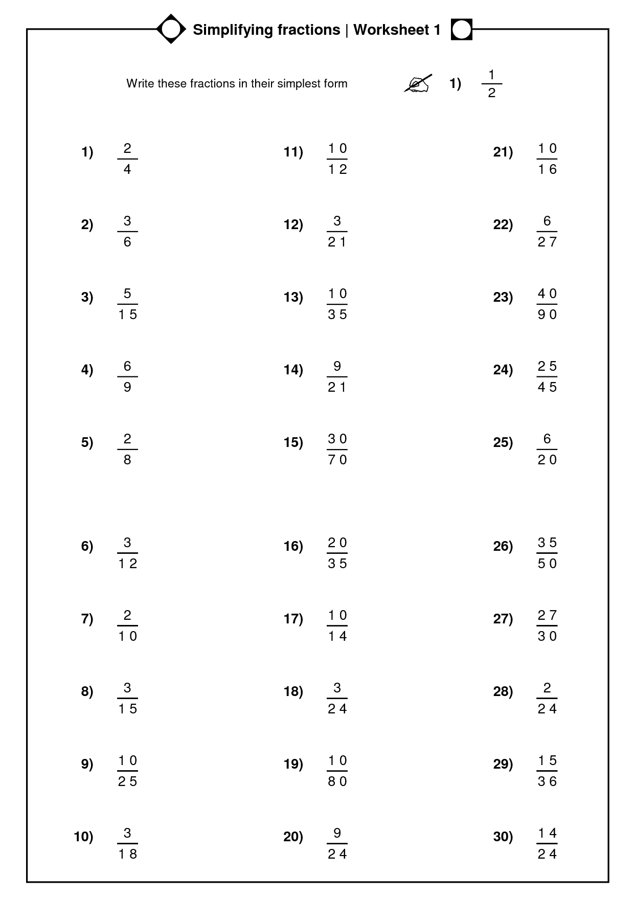 fractions simplest form worksheet  10 Best Images of Fraction Worksheets With Answer Key ..