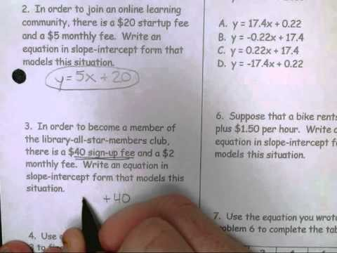 slope intercept form examples with answers  11/16 Lifework: Slope-Intercept Form Word Problems - YouTube - slope intercept form examples with answers