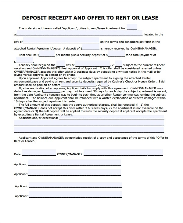 non refundable deposit form template  9+ Security Deposit Receipt Templates | Sample Templates - non refundable deposit form template
