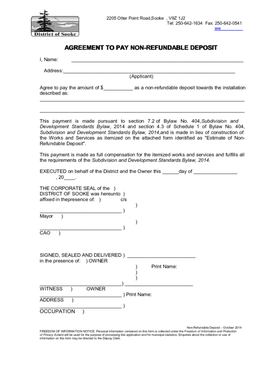 non refundable deposit form template  Agreement To Pay Non-Refundable Deposit printable pdf download - non refundable deposit form template