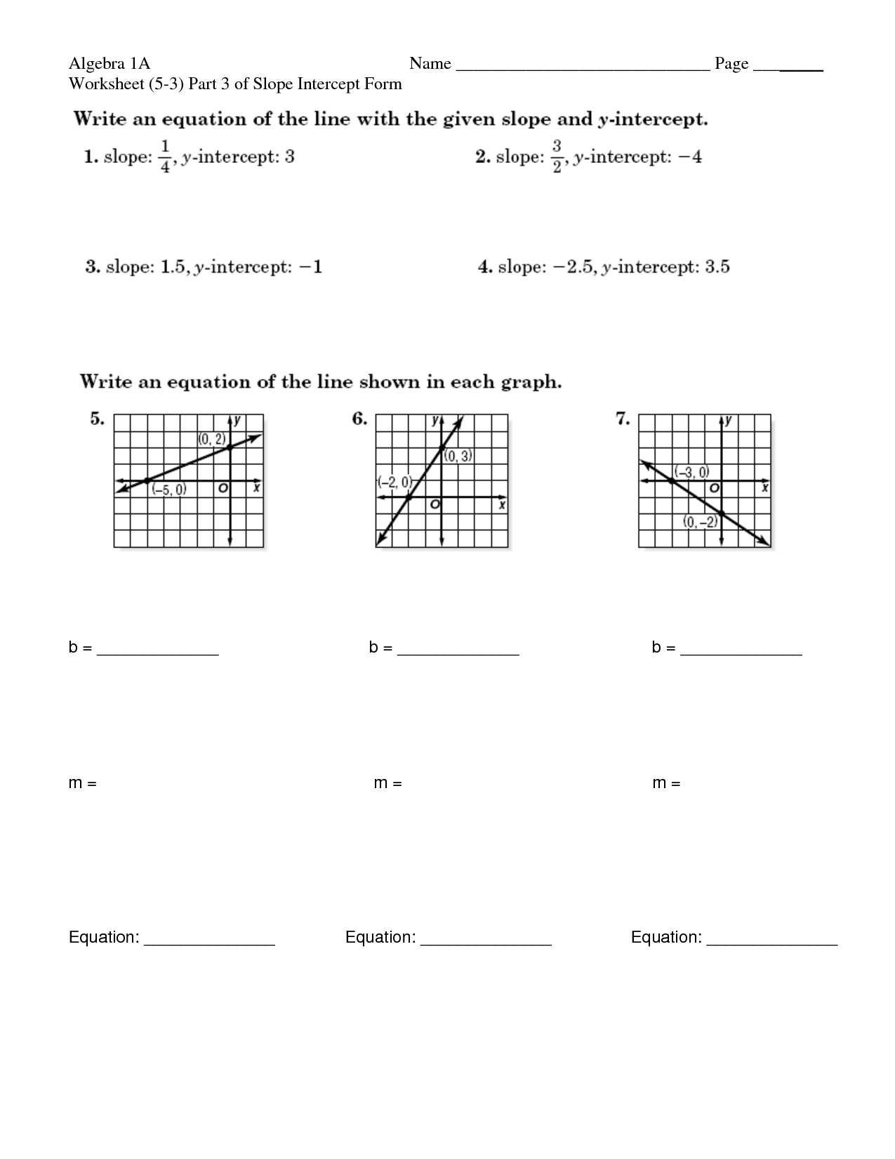 slope intercept form worksheet Algebra 1 Slope Intercept form Worksheet 1 - Worksheet ...