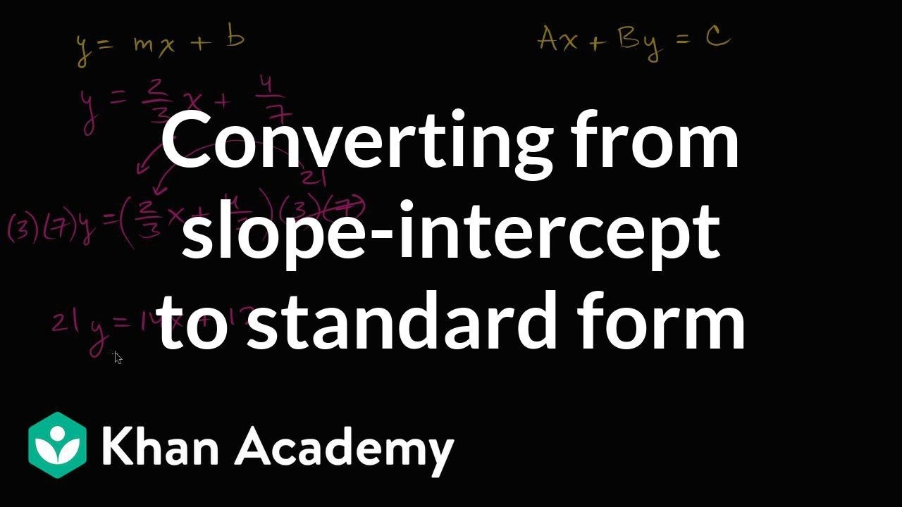 slope intercept form khan academy practice