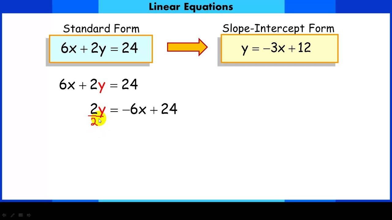 slope intercept form into general form