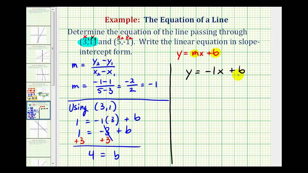 slope intercept form for a line passing through two points  Ex 1: Find the Equation of a Line in Slope Intercept Form ..