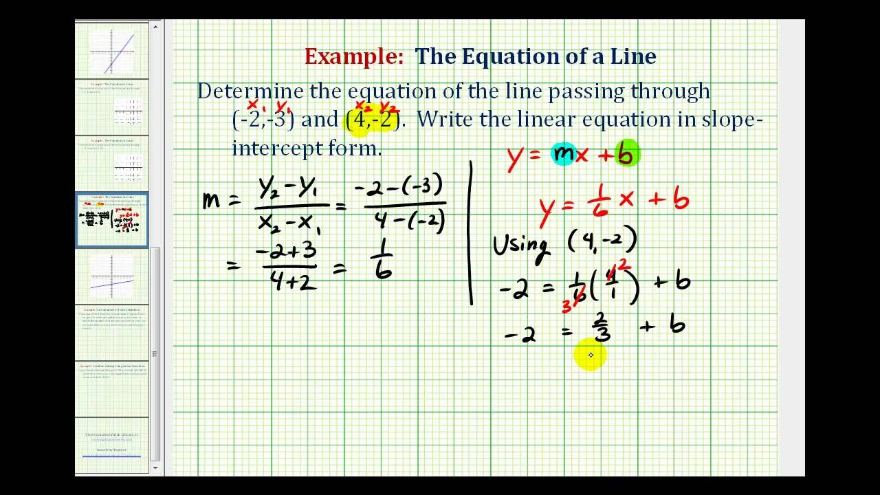 slope intercept form for a line passing through two points  Ex 2: Find the Equation of a Line in Slope Intercept Form ..