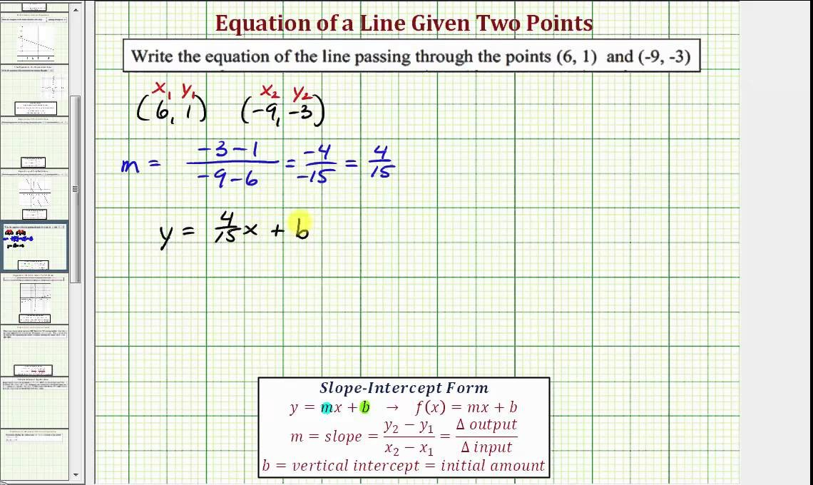 slope intercept form equation with two points  Ex: Determine the Equation of a Line Given Two Points ..