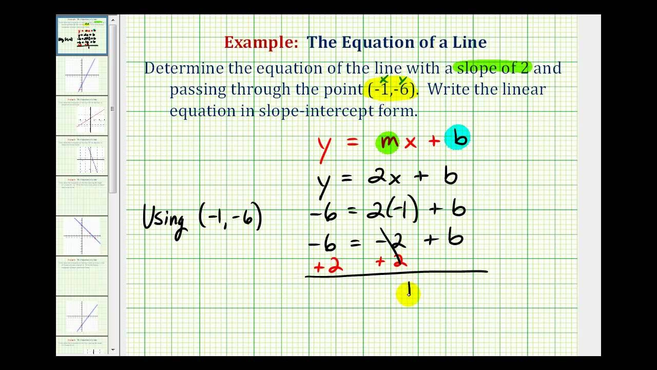 slope intercept form given point and slope  Ex: Find the Equation of a Line in Slope Intercept Form ..
