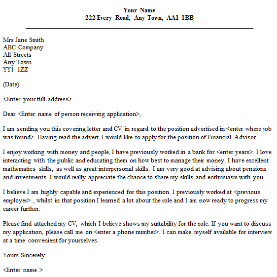 letter template attention  Financial Advisor Cover Letter Sample - lettercv