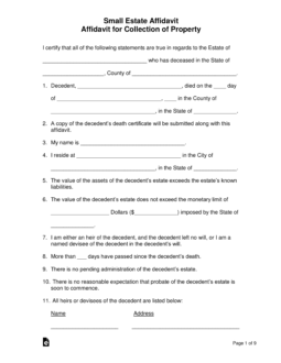letter template child support agreement without court Free Small Estate Affidavit Forms - PDF | Word | eForms ...