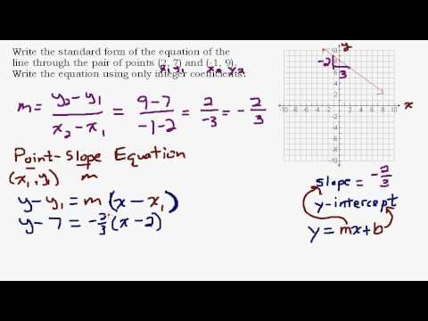 slope intercept form for a line passing through two points  Given Two Points Find the Standard Form Equation of a Line ..