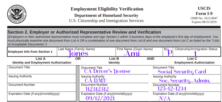 form i-9 instructions 2019  How to Fill Out the I-9 Form in 5 Steps [+Examples] - form i-9 instructions 2019