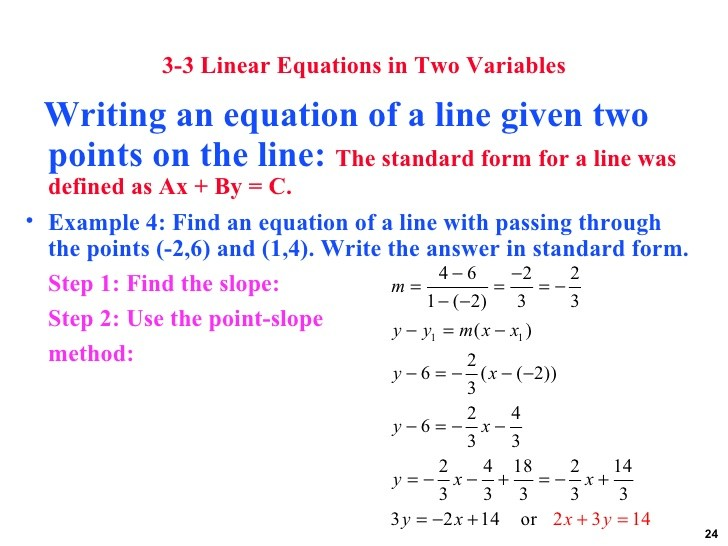 slope intercept form for a line passing through two points  how to write an equation given two points - slope intercept form for a line passing through two points