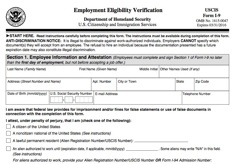 form i-9 verification