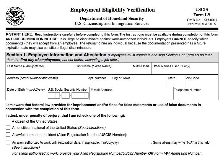 form i-9 verification New Employment Eligibility Verification Form I-9 | DAS HR ...