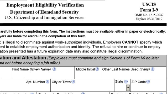 form i-9 instructions 2019