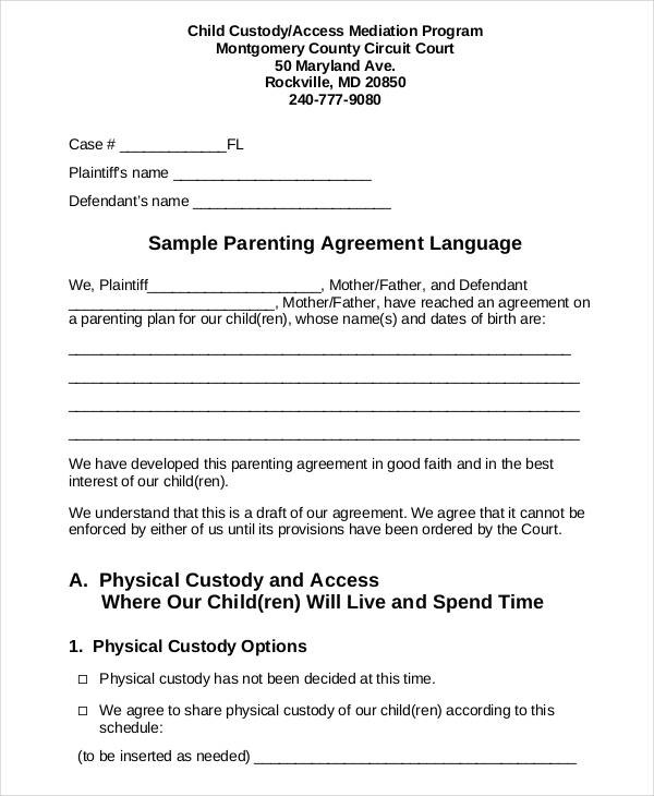 letter template child support agreement without court  Parenting Agreement Templates - 8+ Free PDF Documents ..