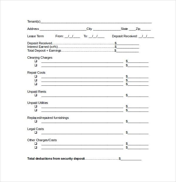 bank deposit form sample  Sample Rental Deposit Form - 11+ Free Documents in PDF, Word - bank deposit form sample