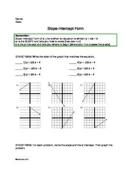 slope intercept form worksheet  Slope Intercept Form Practice Worksheet by Sarah Price   TpT - slope intercept form worksheet