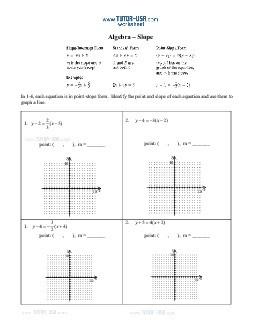 slope intercept form answer key  Worksheet: Slope - Slope Intercept, Standard Form, Point ..