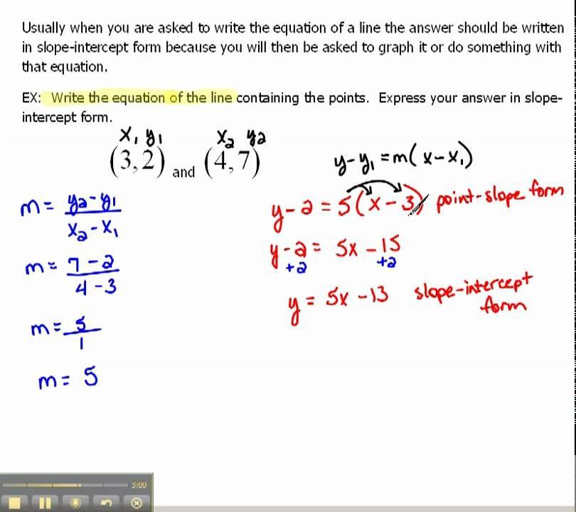 slope intercept form formula  Write an Equation of a Line in Slope-Intercept Form 1.6 ..