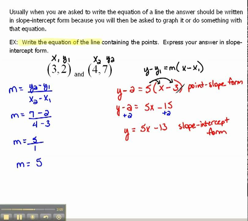 slope intercept form given 2 points  Write an Equation of a Line in Slope-Intercept Form 1.6 ..