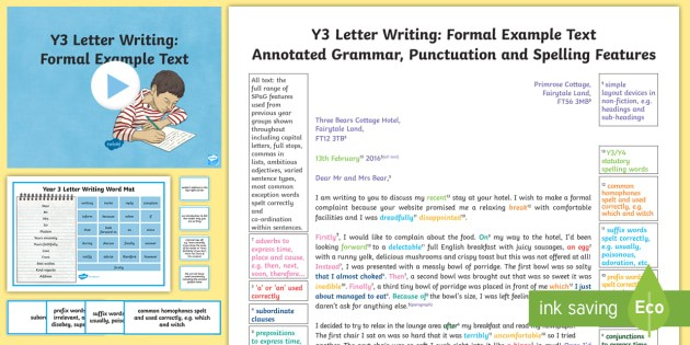 year 3 letter examples  Y3 Letter Writing: Formal Model/Example Text - Example ..