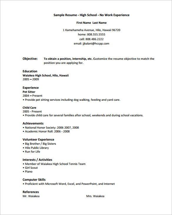 resume template for teens  10+ High School Resume Templates – Free Samples, Examples ..