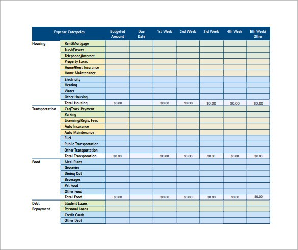 free household budget template  10 Monthly Budget Calculator Templates to Download ..