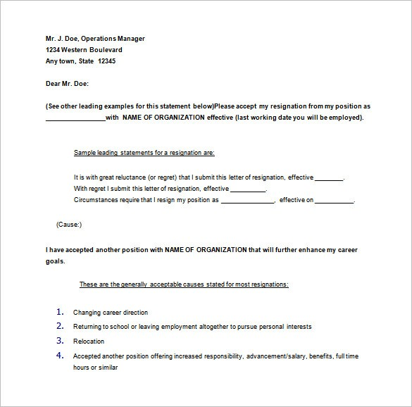 quitting job letter template  11+ Notice of Resignation Letter Templates - DOC, PDF ..
