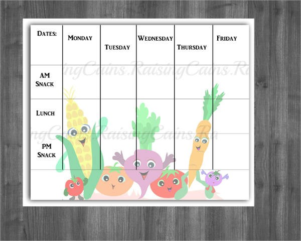 7 day calendar template word  13+ Preschool Menu Templates - PSD, EPS, AI, Word | Free ..