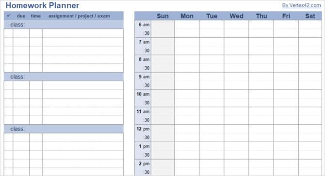 6 week calendar template  15 Checklist, Schedule, and Planner Templates for Students - 6 week calendar template