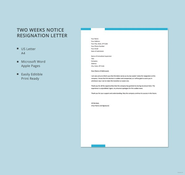 1 week notice letter template  15+ Simple Resignation Letter Templates - Free Sample ..