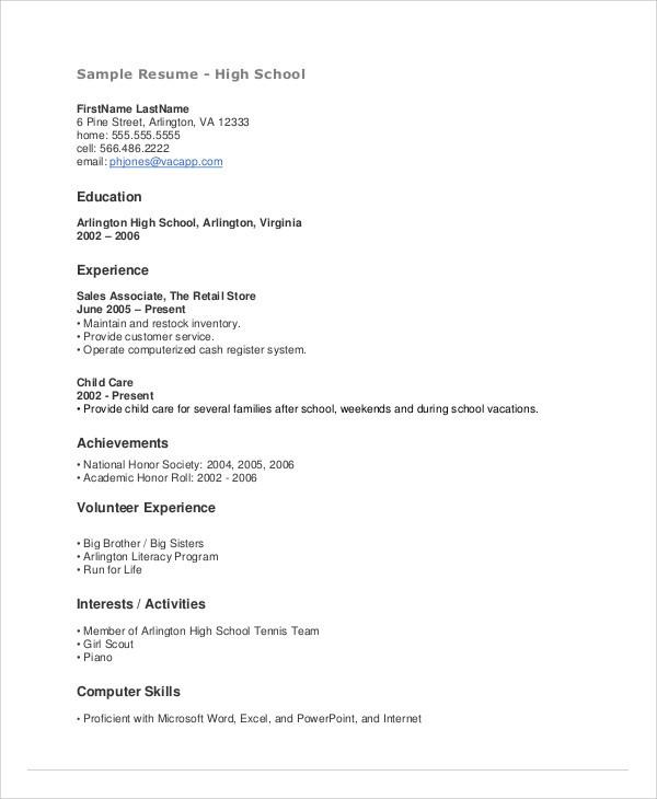 resume template for teens  15+ Teenage Resume Templates - PDF, DOC | Free & Premium ..