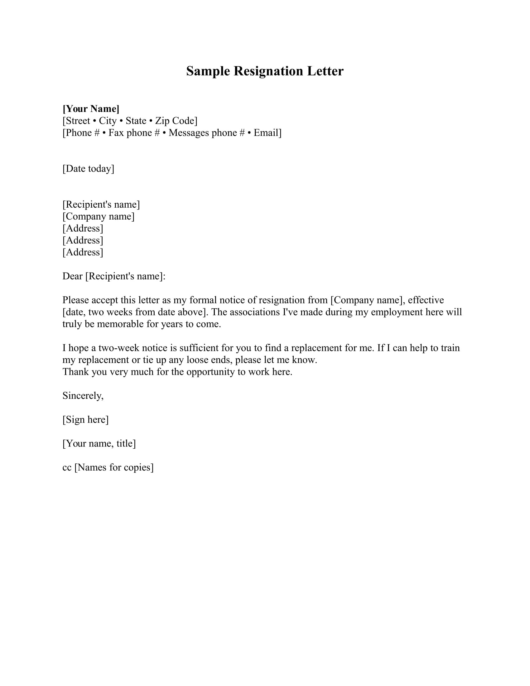 quitting job letter template  17+ Free Resignation Letter - PDF, DOC | Examples - quitting job letter template