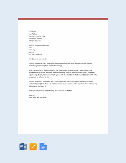 resignation letter template health reasons  19+ Employee Resignation Letter Templates - PDF, DOC ..