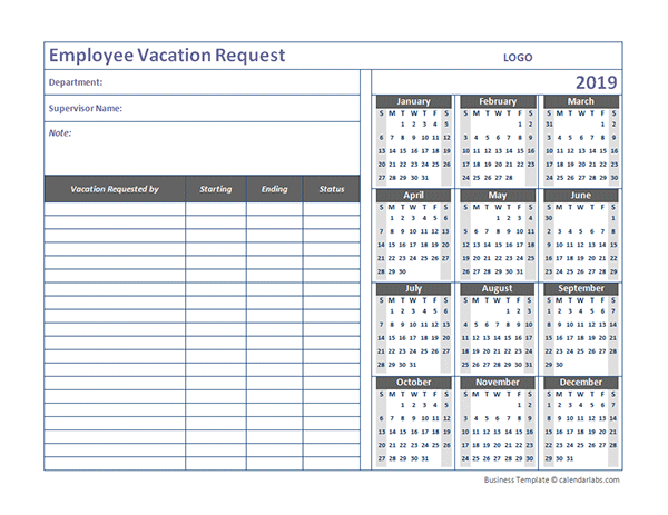 vacation calendar template for employees  2019 Business Employee Vacation Request - Free Printable ..