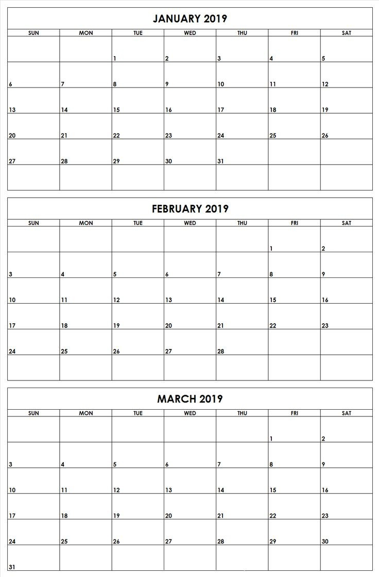5 month calendar template  2019 q1 months printable calendar   Quarterly calendar ..