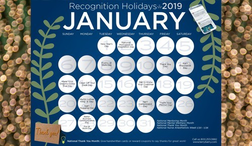 2 month calendar template  2019 Recognition Calendar of Holidays | Terryberry - 2 month calendar template