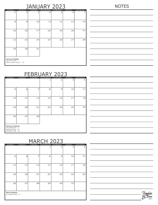 calendar template 3 months per page  3 Month Calendar - 2023 - calendar template 3 months per page