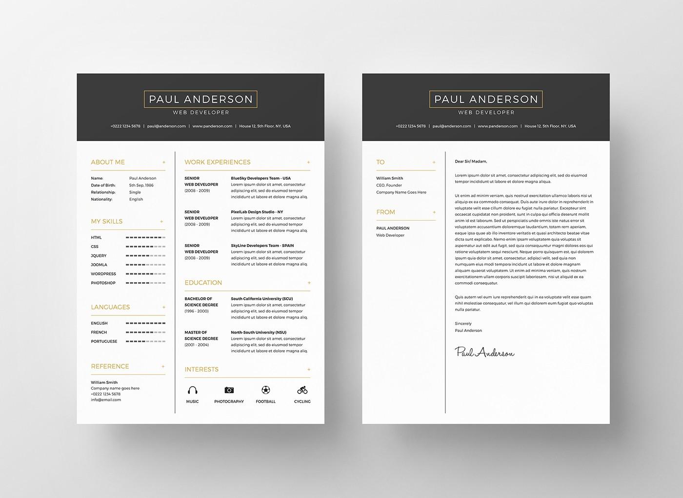 2 column resume template word  40 Free Printable CV Templates in 2017 to Get a Perfect Job - 2 column resume template word