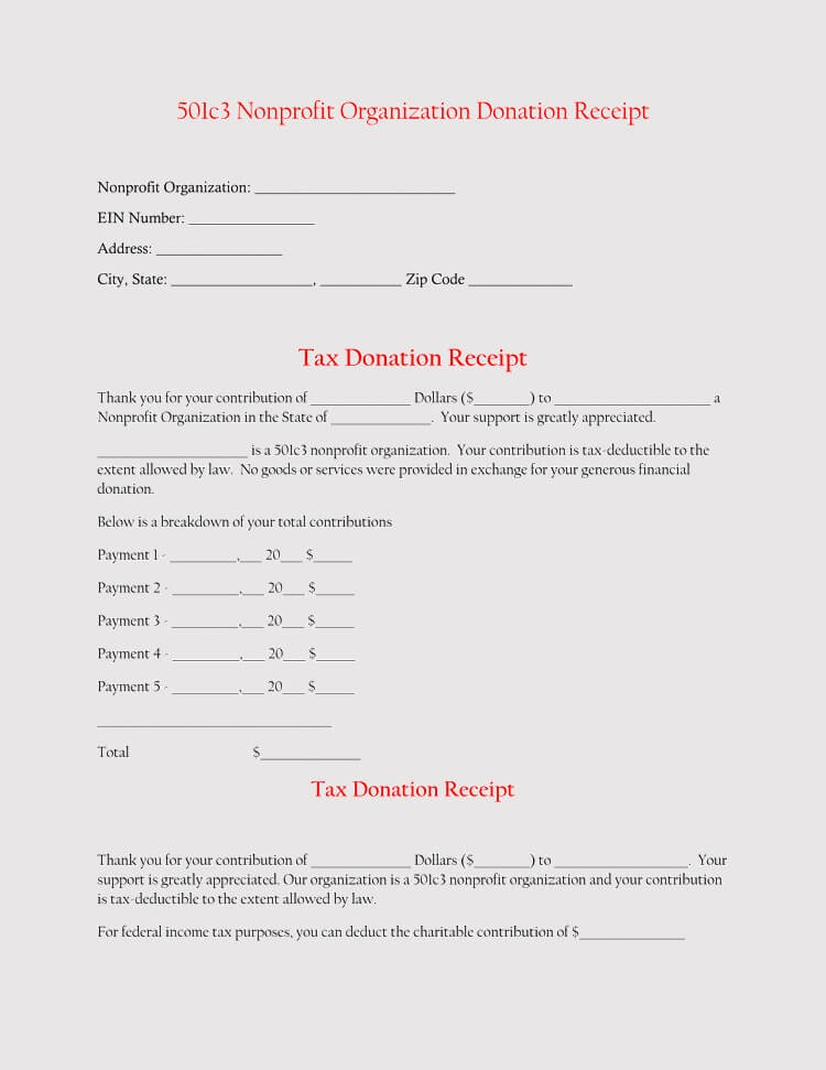 501c3 donation letter template  45+ Free Donation Receipt Templates (Non-Profit) Word, PDF - 501c3 donation letter template