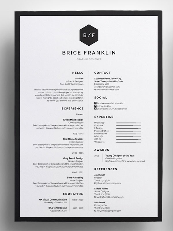 resume template unique  50+ Awesome resume templates 2016 - resume template unique