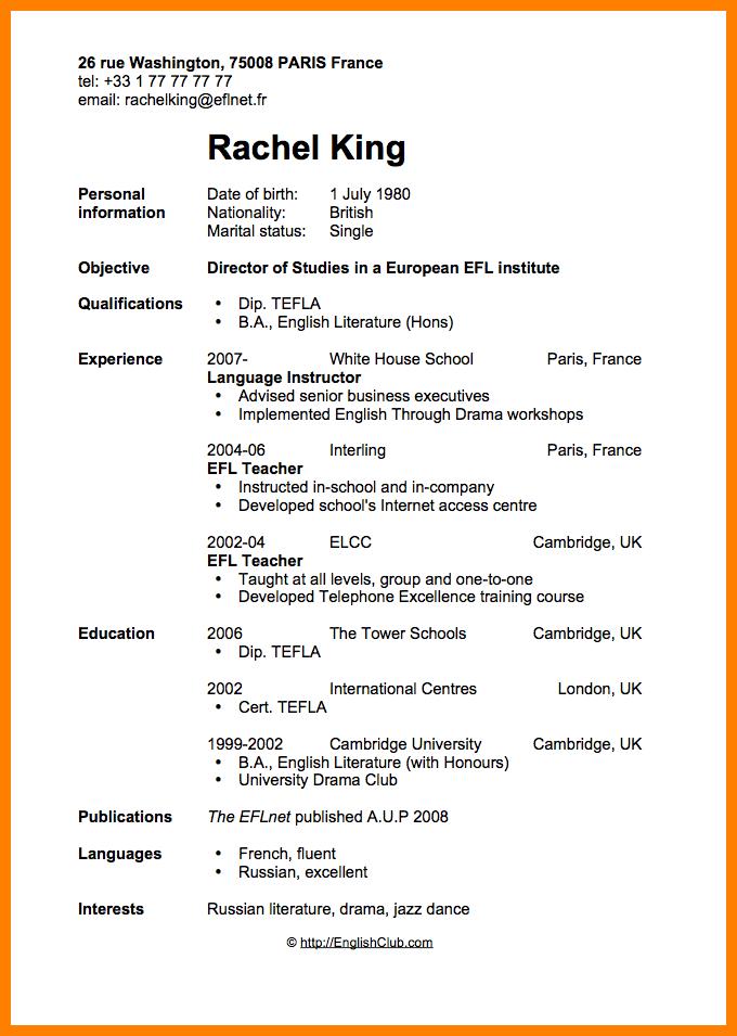 resume template objective  6+ cv models english | theorynpractice - resume template objective