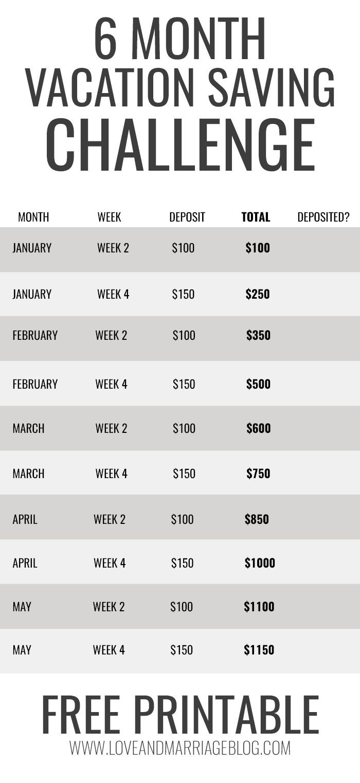 2 month calendar template  6 Month Vacation Savings Challenge | Vacation savings ..