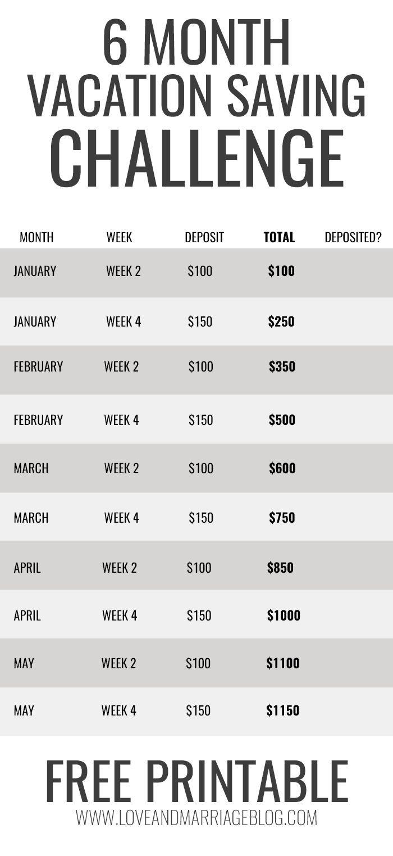 6 week calendar template  6 Month Vacation Savings Challenge | Vacation savings ..