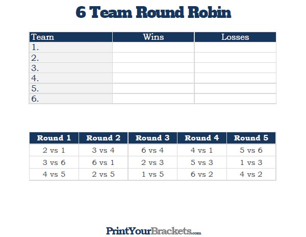 6 team league schedule template  6 Team Round Robin Printable Tournament Bracket - 6 team league schedule template