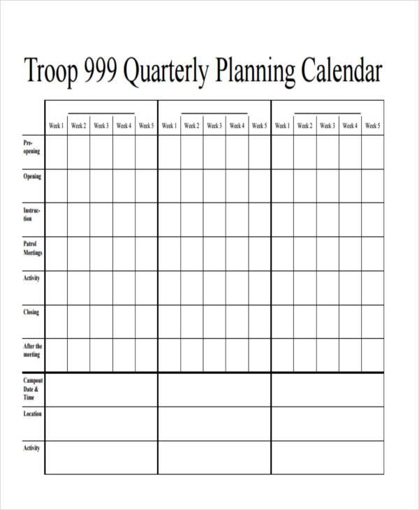 quarterly event calendar template  7+ Quarterly Calendar Templates - Word, PDF | Free ..