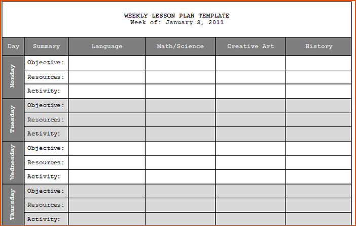 blank daily schedule template  7+ teacher lesson plan template - bookletemplate