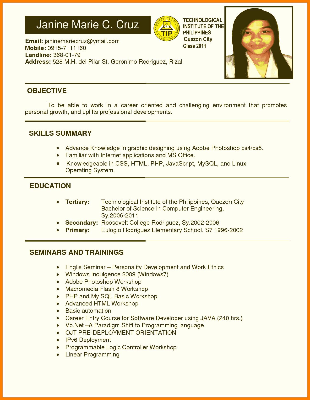 resume template college student  8+ hrm ojt resume | letter adress - resume template college student