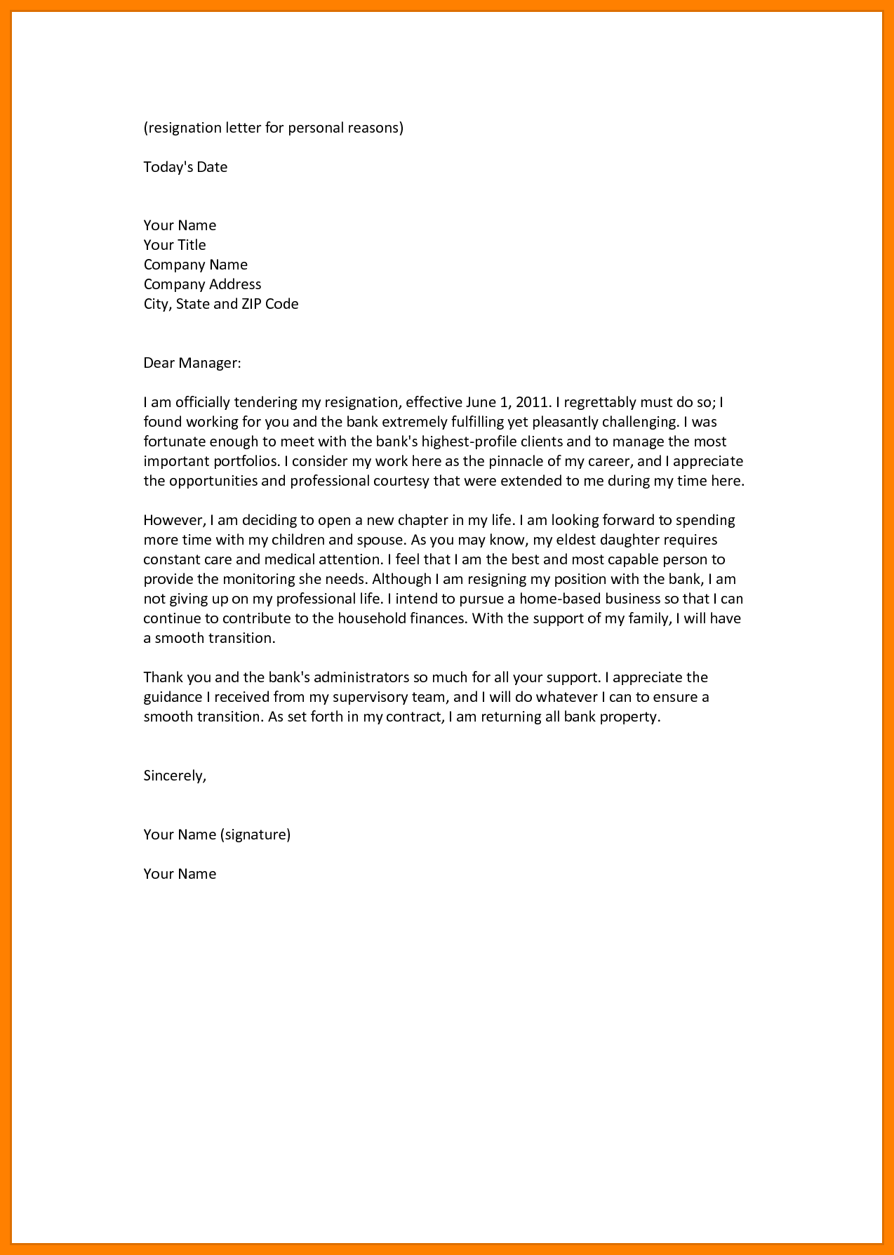 resignation letter template health reasons  8+ resignation letter personal reason | Resignition Letter - resignation letter template health reasons